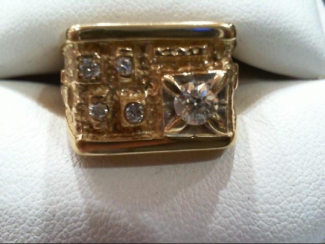 Gent's Diamond Fashion Ring 5 Diamonds .43 Carat T.W. 14K Yellow Gold 10.4g