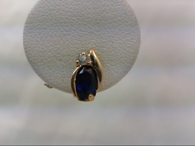 Sapphire Gold-Stone Earrings 10K Yellow Gold 1g