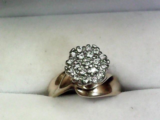 Lady's Diamond Cluster Ring 18 Diamonds .36 Carat T.W. 10K Yellow Gold 2.95dwt