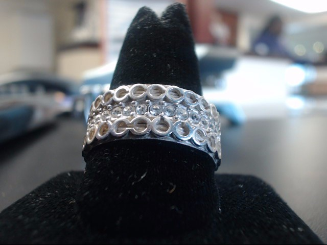 Synthetic White Stone Lady's Silver & Stone Ring 925 Silver 10.47g Size:8