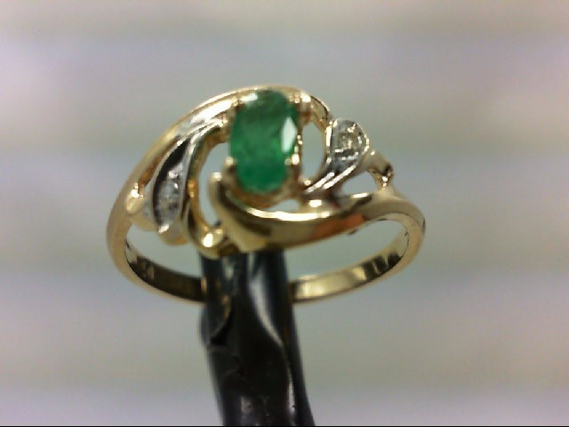 Emerald Lady's Stone & Diamond Ring 2 Diamonds 0.02 Carat T.W. 14K Yellow Gold 2