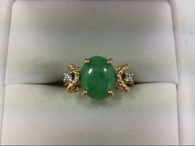 Jade Lady's Stone & Diamond Ring 2 Diamonds .04 Carat T.W. 14K Yellow Gold 2.7g