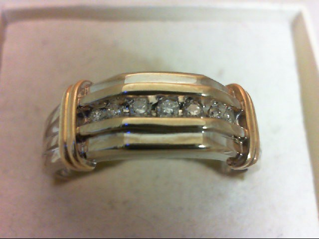 Gent's Gold-Diamond Wedding Band 7 Diamonds .11 Carat T.W. 10K 2 Tone Gold 5.2g
