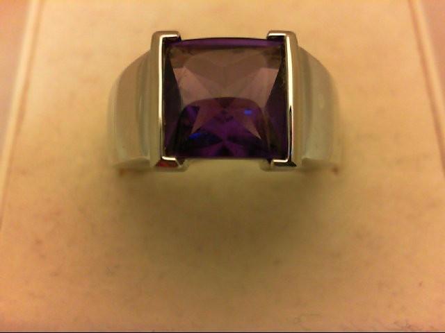 Amethyst Gent's Stone Ring 14K White Gold 4.5g