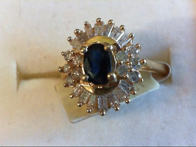 Sapphire Lady's Stone & Diamond Ring 24 Diamonds .90 Carat T.W. 14K Yellow Gold