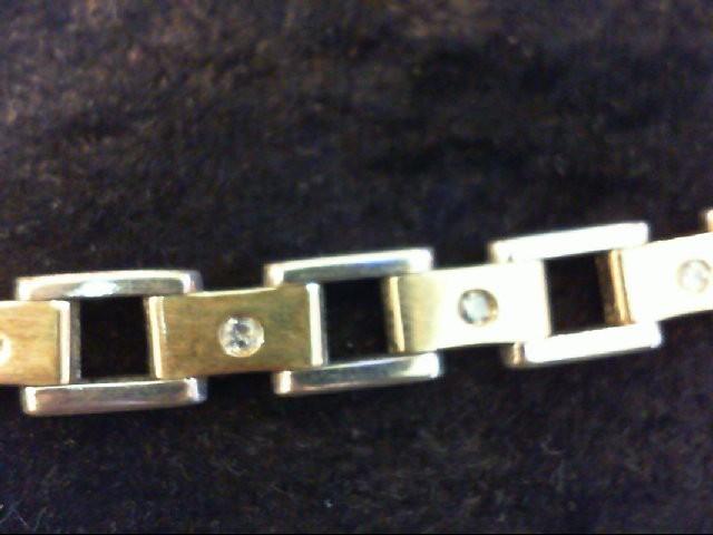 Gold-Diamond Bracelet 16 Diamonds .80 Carat T.W. 10K 2 Tone Gold 25.5g