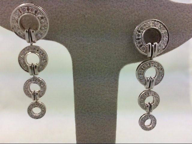 Gold-Diamond Earrings 82 Diamonds 1.32 Carat T.W. 18K White Gold 12.46g