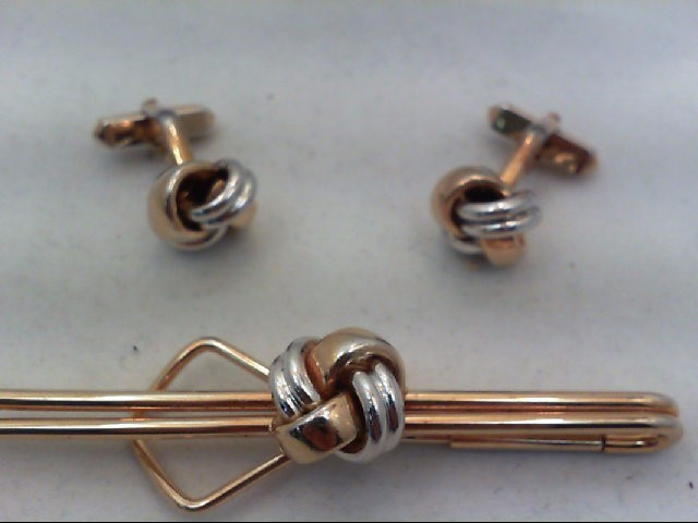 Gold Cuff Links 2 Tone Gold Electroplate 24.4g
