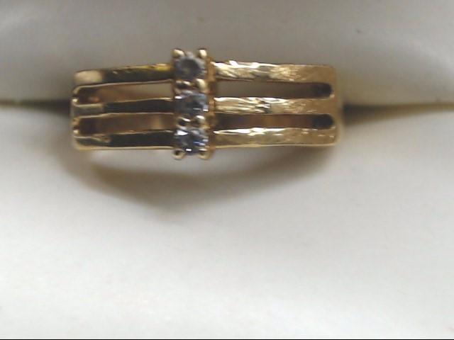 Lady's Diamond Cluster Ring 3 Diamonds .09 Carat T.W. 14K Yellow Gold 2.8g