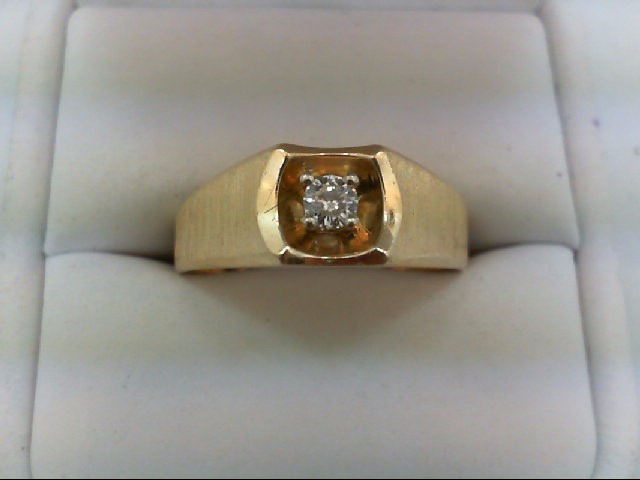 Gent's Diamond Solitaire Ring .16 CT. 14K Yellow Gold 6.2g Size:12.5