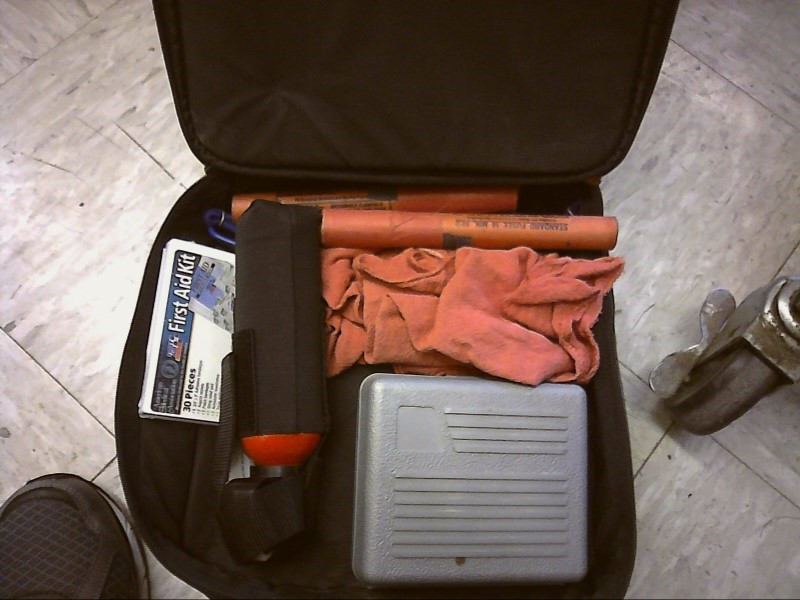 TRAVEL CASE W/ JUMPER CABLES FIRST AID EXPIRED BEAR SPRAY ROAD FLARES BUNGEE RAG
