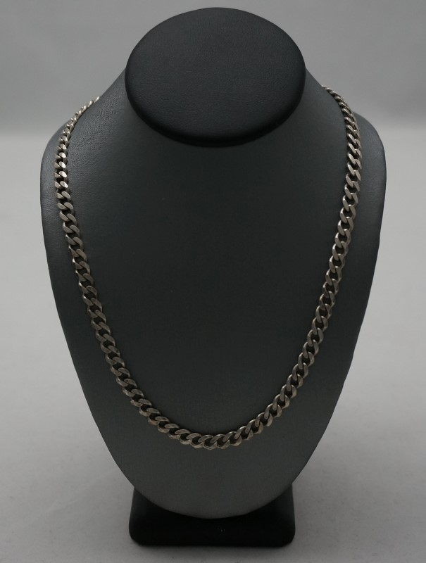 "28"" 2-Sided Silver Curb Chain 925 Silver 15.7dwt"