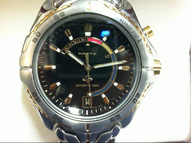SEIKO Gent's Wristwatch 5M42-OBO9 KINETIC INDICATOR TWO TONE