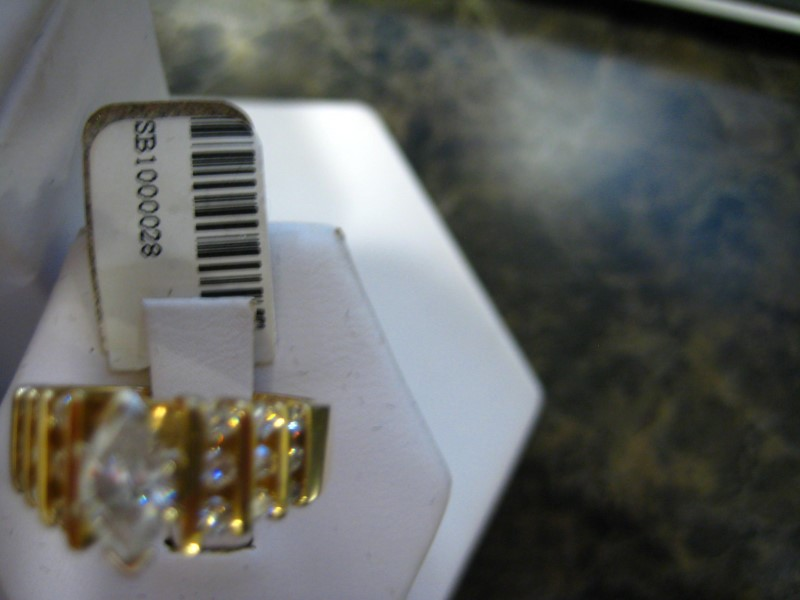 Lady's Diamond Engagement Ring 0.01 CT. 14K Yellow Gold 6.1g