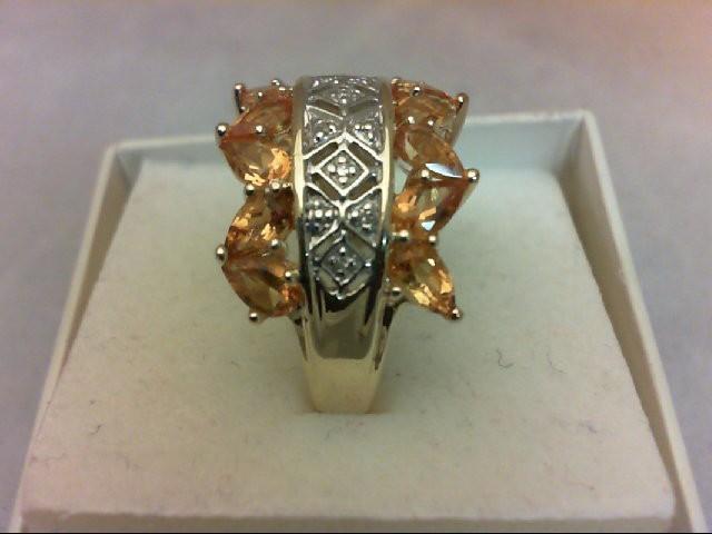 Citrine Lady's Stone & Diamond Ring 9 Diamonds 0.09 Carat T.W. 10K Yellow Gold 4