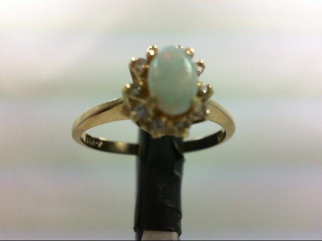 Opal Lady's Stone & Diamond Ring 10 Diamonds 0.1 Carat T.W. 14K Yellow Gold 2.2g