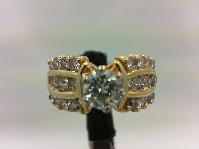 Lady's Diamond Wedding Band 25 Diamonds 1.22 Carat T.W. 14K Yellow Gold 4.36g