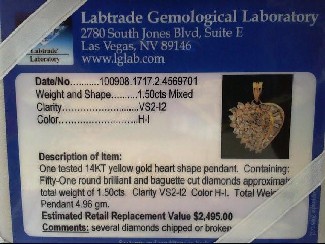Gold-Multi-Diamond Pendant 51 Diamonds 1.53 Carat T.W. 14K Yellow Gold 14.5g