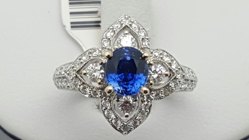 Lady's sapphire & Diamond Ring 56 Diamonds .71 Carat T.W. 18K White Gold 6.2g