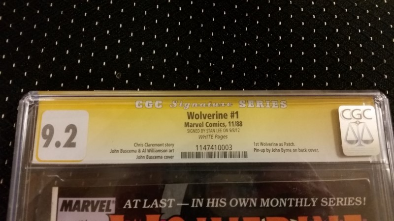 Wolverine #1 1988 CGC SS Signature Series 9.2 Auto Stan Lee White Pages