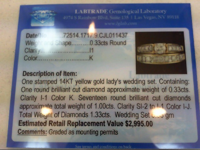 Lady's Diamond Wedding Set 18 Diamonds 1.33 Carat T.W. 14K Yellow Gold 6.33g