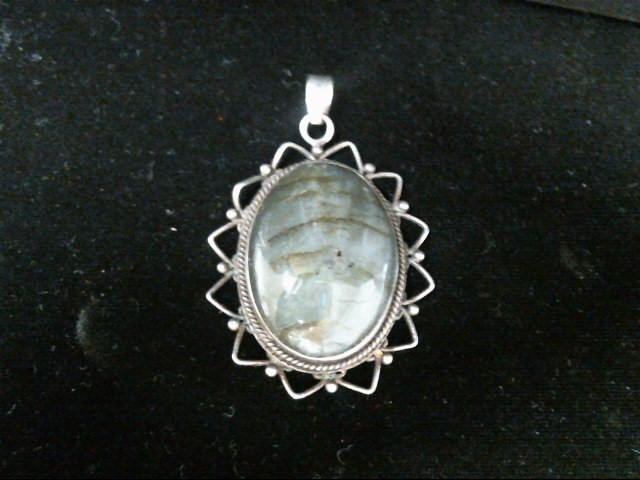 Synthetic Bloodstone Silver-Stone Pendant 925 Silver 12.8g