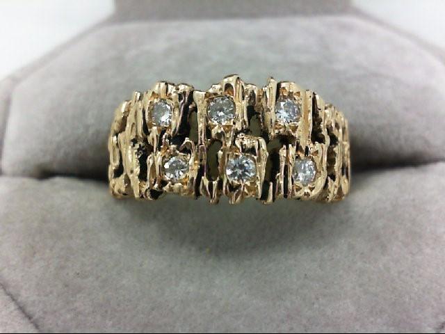 Gent's Gold-Diamond Wedding Band 6 Diamonds 0.42 Carat T.W. 14K Yellow Gold 8.1g