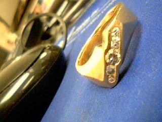 Gent's Diamond Fashion Ring 5 Diamonds .65 Carat T.W. 14K Yellow Gold 18.6g