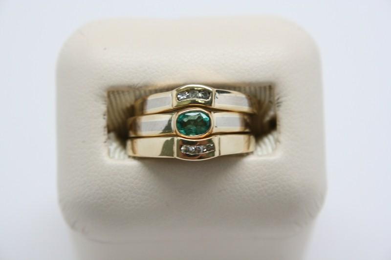 3 RING 18K 2TONE GOLD  EMERALD & DIAMOND  WEDDING SET