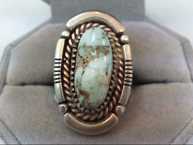 Lady's Turquoise and Silver 925 Ring 10.3g Size 7