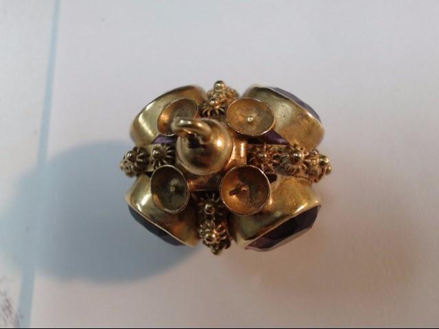 Amethyst Gold-Stone Pendant 18K Yellow Gold 13.54g