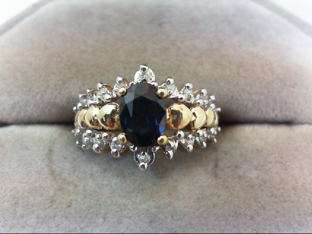 Sapphire Lady's Stone & Diamond Ring 18 Diamonds .18 Carat T.W. 10K Yellow Gold