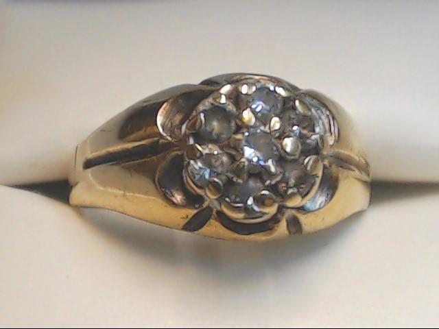 Gent's Diamond Cluster Ring 7 Diamonds .49 Carat T.W. 10K Yellow Gold 4g