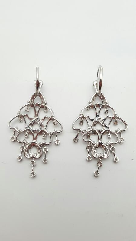 Gold-Diamond Earrings 58 Diamonds .58 Carat T.W. 14K White Gold 8.9g
