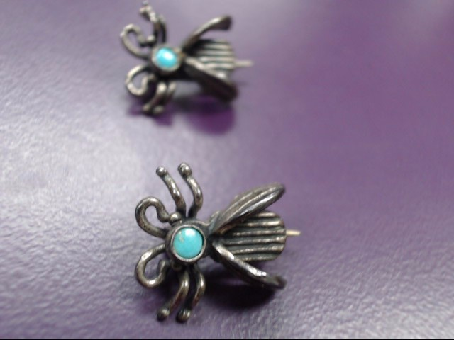 Turquoise Silver-Stone Earrings 925 Silver 2.4g