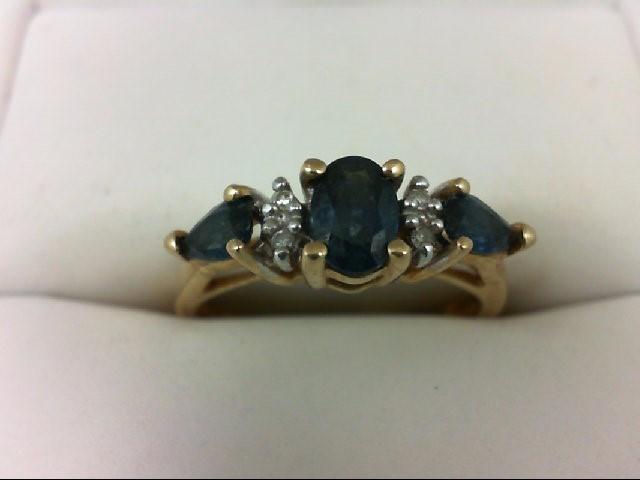 Sapphire Lady's Stone & Diamond Ring 4 Diamonds 0.04 Carat T.W. 14K Yellow Gold