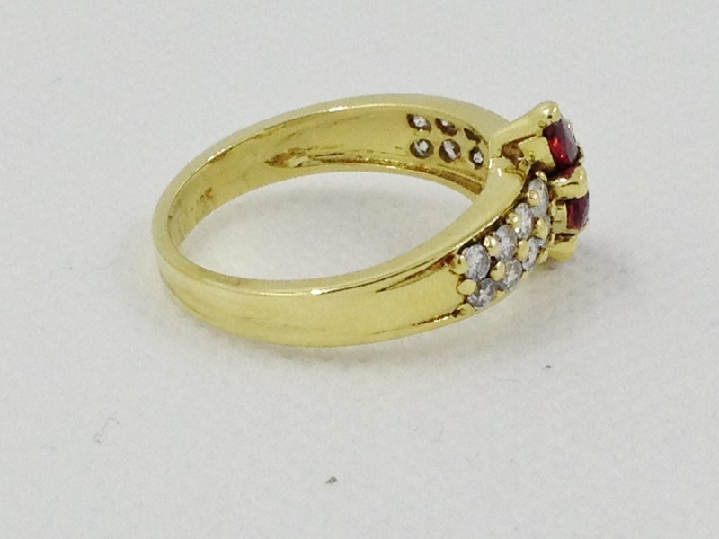 Ruby & Diamond Ring 16 Diamonds .80 Carat T.W. 18K Yellow Gold