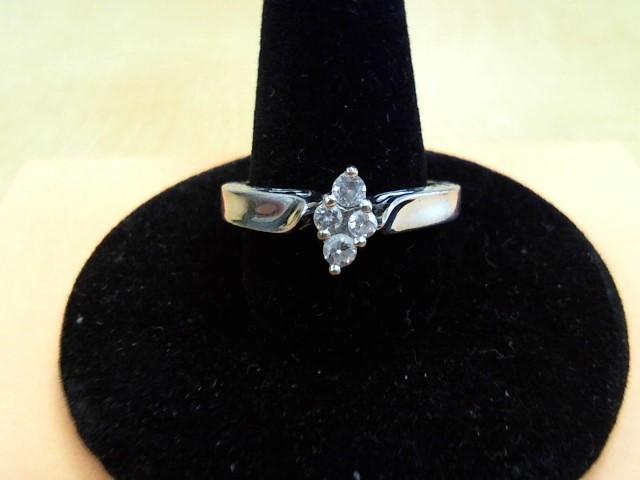 Lady's Diamond Engagement Ring 4 Diamonds .28 Carat T.W. 9K White Gold 3.1g