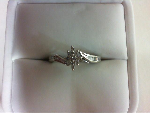 Lady's Diamond Cluster Ring 19 Diamonds 0.2 Carat T.W. 10K White Gold 1.8g