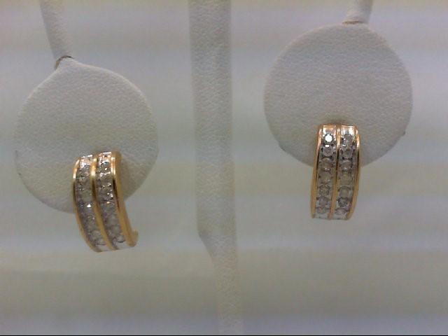 Gold-Diamond Earrings 28 Diamonds 0.56 Carat T.W. 14K Yellow Gold 2.9g