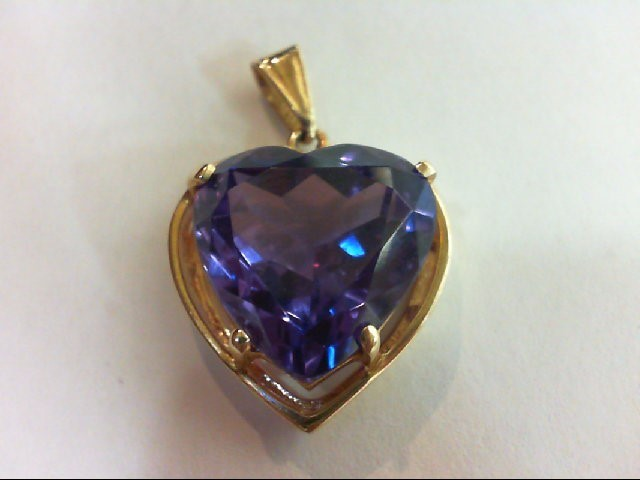 Synthetic Alexandrite Gold-Stone Pendant 14K Yellow Gold 5.7g