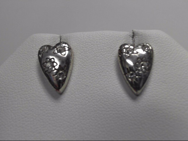 Sterling Silver CZ Heart Earrings 4.8g