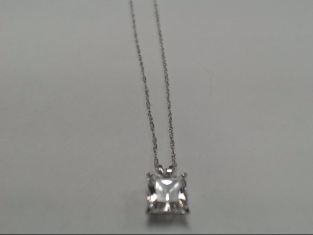 """18"""" Cubic Zirconia Stone Necklace 10K White Gold 1.3g"""