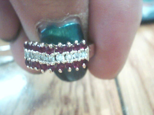 Red Stone Lady's Stone & Diamond Ring 10 Diamonds .69 Carat T.W.