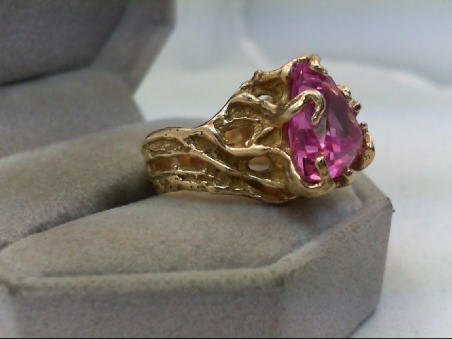 Pink Sapphire Lady's Stone Ring 14K Yellow Gold 9.3g