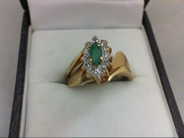 Emerald Lady's Stone & Diamond Ring 12 Diamonds 0.12 Carat T.W. 10K Yellow Gold