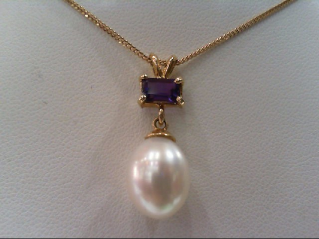 Synthetic Pearl Gold-Stone Pendant 14K Yellow Gold 4.8g