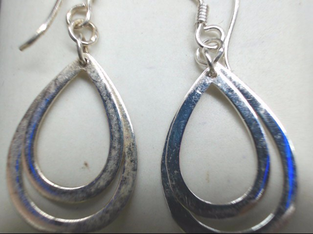 Silver Earrings Double Tear Drop 925 Silver 1.9g