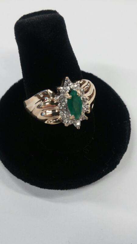 Synthetic Emerald Lady's Stone Ring 14K Yellow Gold 2.2dwt