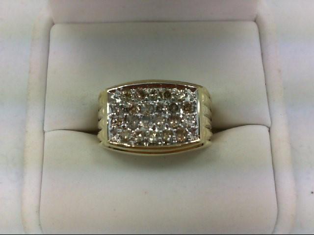 Gent's Diamond Cluster Ring 22 Diamonds 1.2 Carat T.W. 10K Yellow Gold 4.4g
